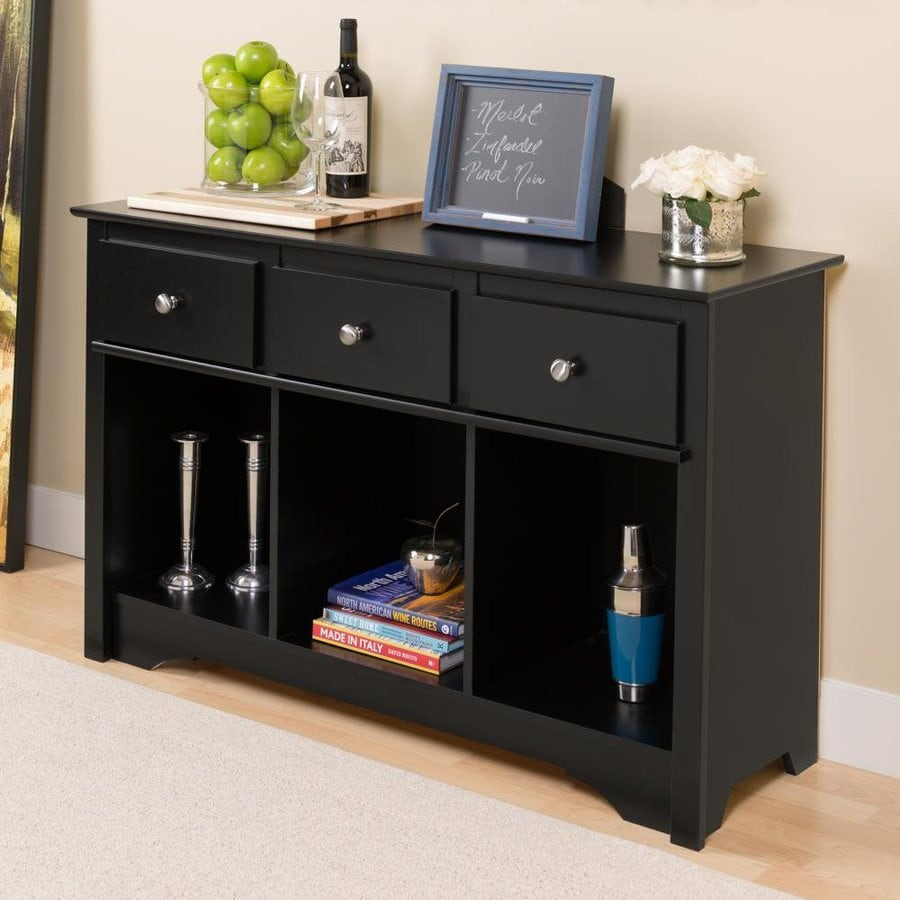 Prepac Furniture Black Rectangular Console Table