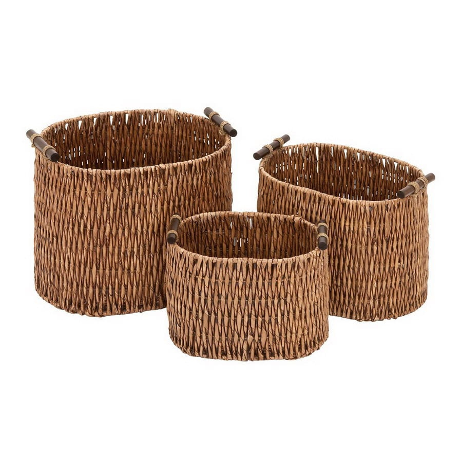 Woodland Imports Set of 3 Home Accents Wicker Baskets