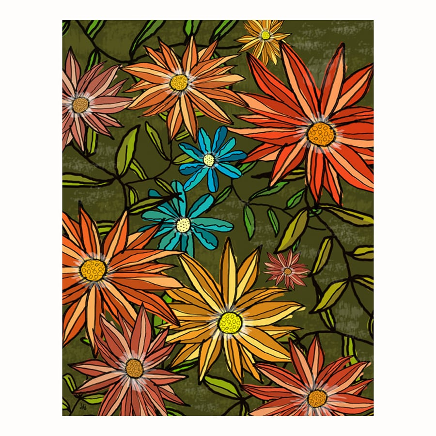 Shop cascadia 11 in w x 14 in h frameless floral for Kitchen cabinets lowes with wall print art