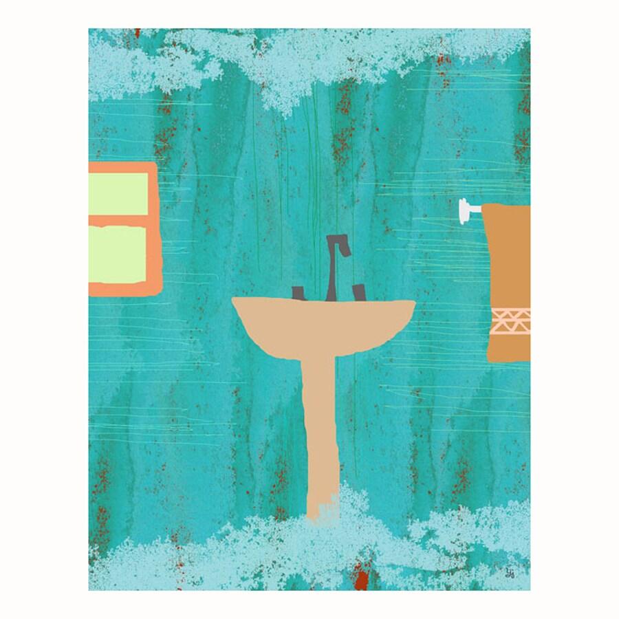 Cascadia 11-in W x 14-in H Frameless Canvas Blue Bath Print Wall Art