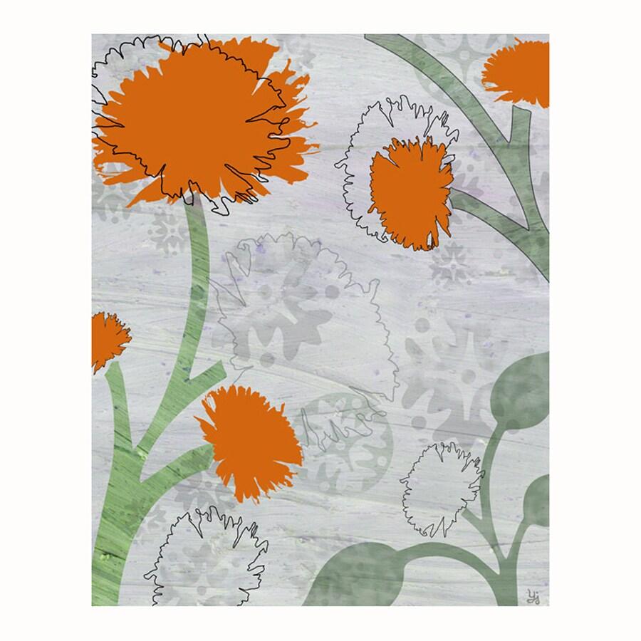 Cascadia 16-in W x 20-in H Frameless Canvas Orange Flowers Print Wall Art