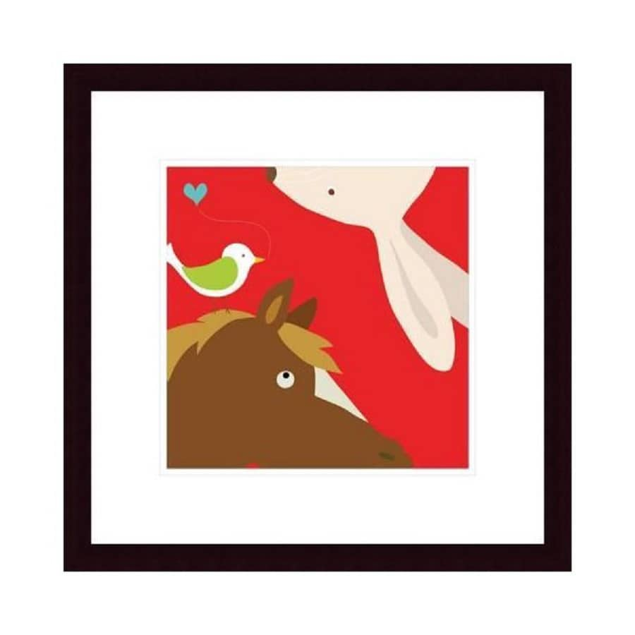 Printfinders 20.3-in W x 20.5-in H Framed Paper Rabbit and Horse Print Wall Art
