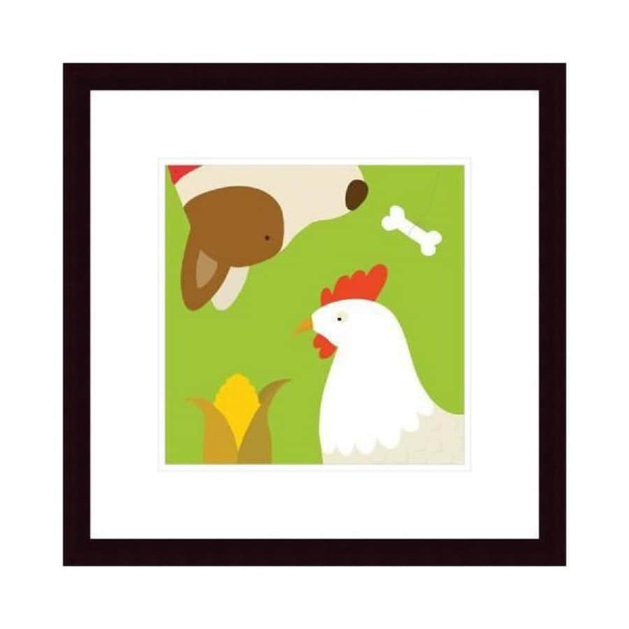 Printfinders 20.3-in W x 20.5-in H Framed Paper Hen and Dog Print Wall Art