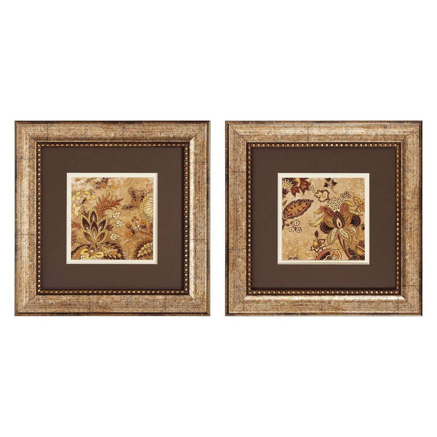 Propac Images 2-Piece 13-in W x 13-in H Framed Paper Floral Print Wall Art