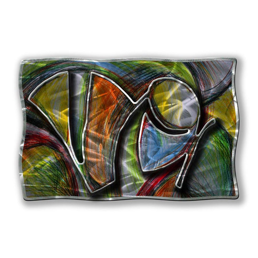 All My Walls 36-in W x 23.5-in H Frameless Metal Abstract Sculpture Wall Art