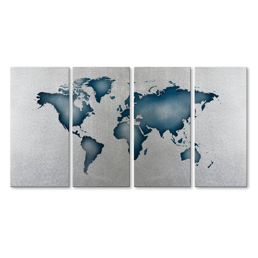 All My Walls 48-in W x 23.5-in H Frameless Metal Maps Sculpture Wall Art