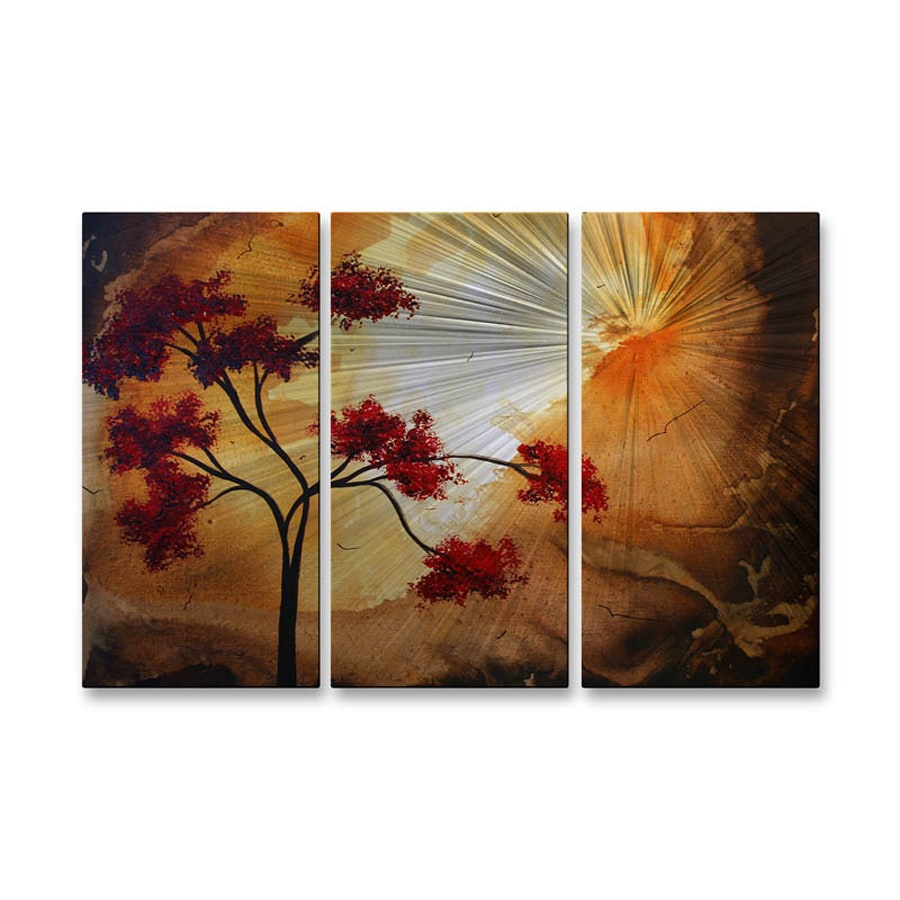 All My Walls 38-in W x 23.5-in H Frameless Metal Floral Sculpture Wall Art
