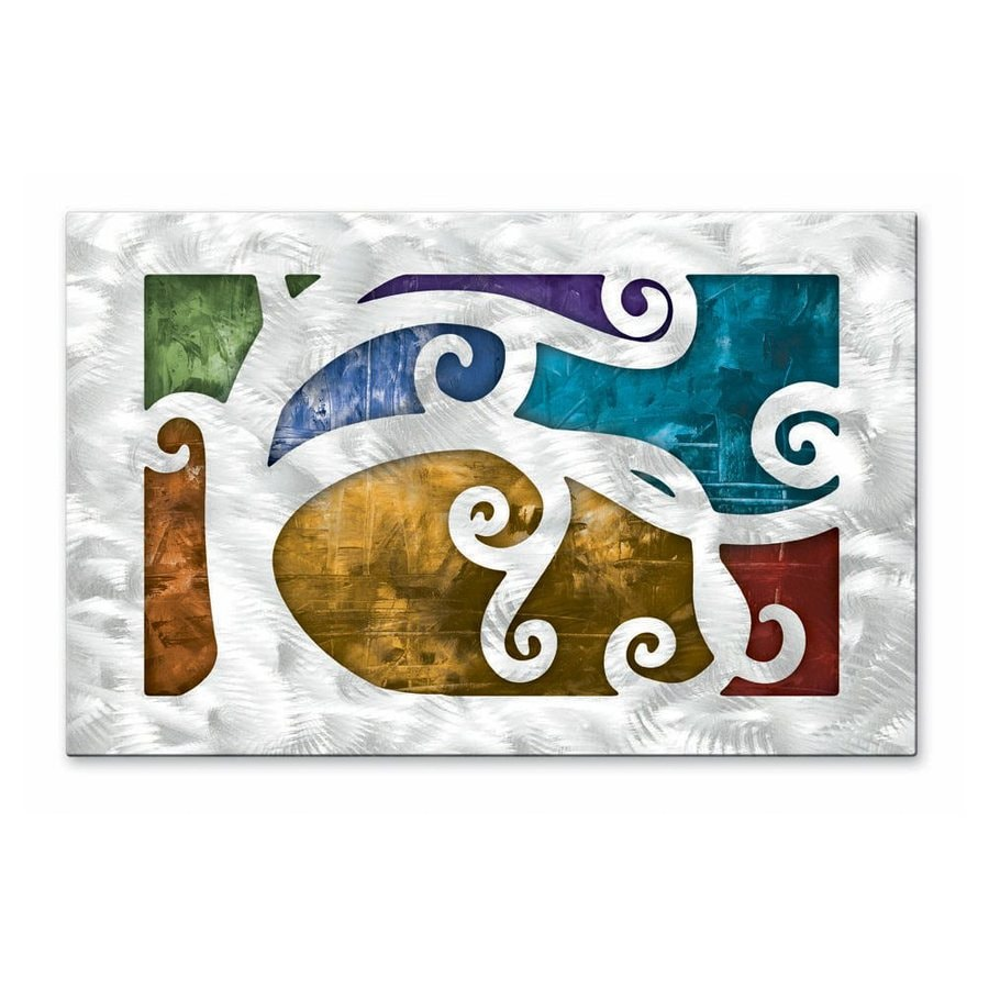 Shop all my walls 235 in w x 15 in h frameless metal for Kitchen cabinets lowes with modern abstract metal wall art sculpture