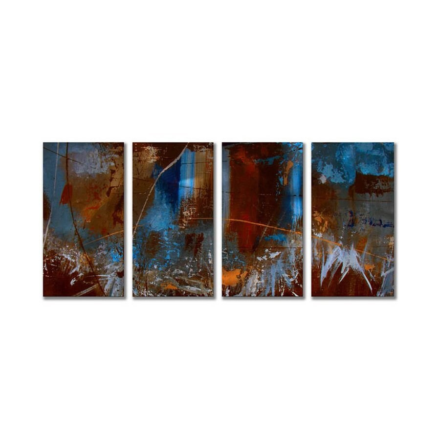 All My Walls 48-in W x 23.5-in H Frameless Metal Abstract Sculpture Wall Art