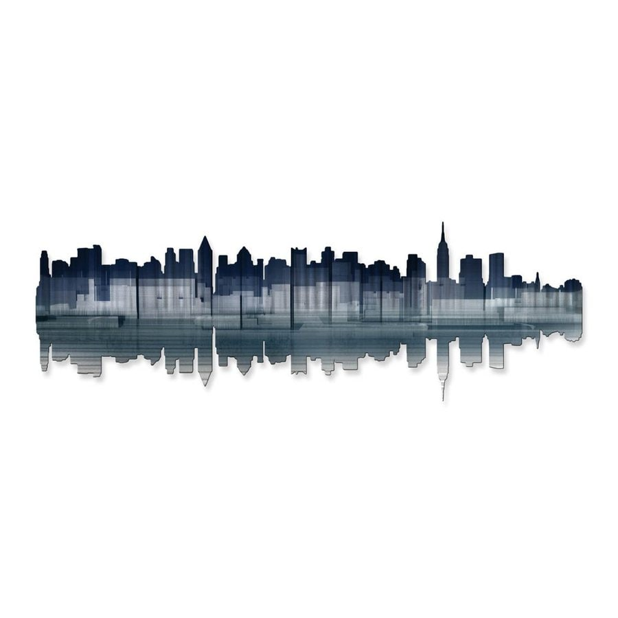 All My Walls 36-in W x 12-in H Frameless Metal Cityscape Wall Art