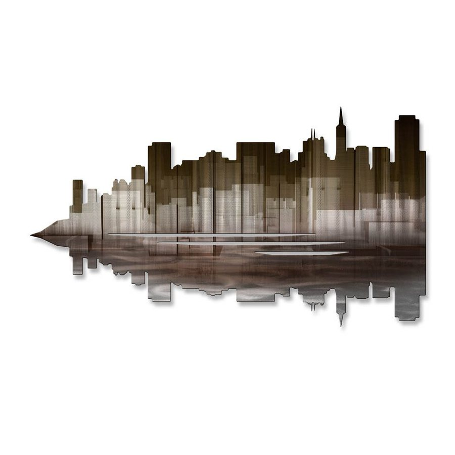 All My Walls 30-in W x 17-in H Frameless Metal Cityscape Wall Art