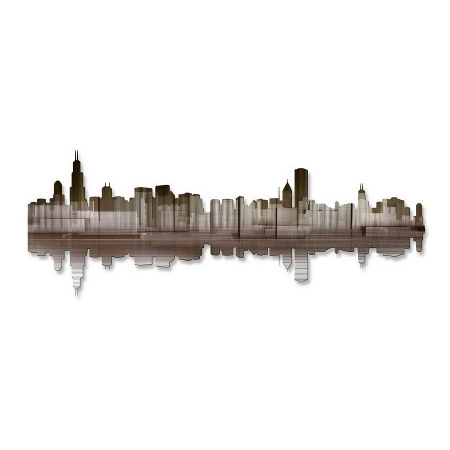 Shop all my walls 36 in w x 135 in h cityscape metal wall for Kitchen cabinets lowes with wall art cityscape