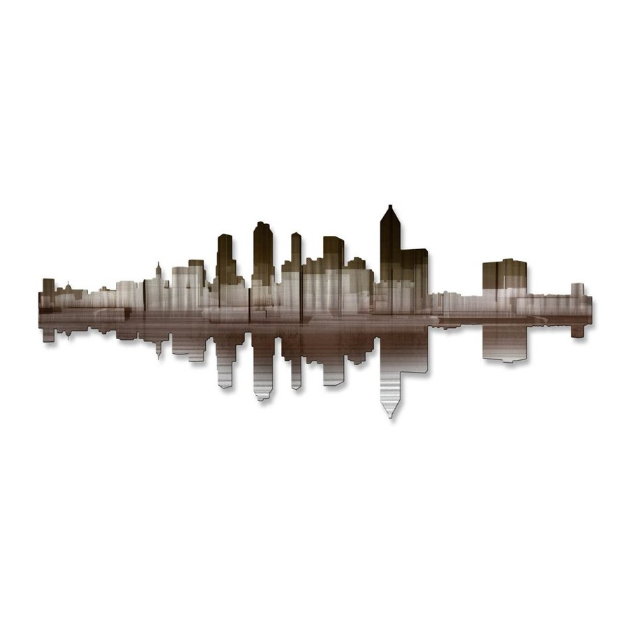 All My Walls 36-in W x 14-in H Frameless Metal Cityscape Wall Art