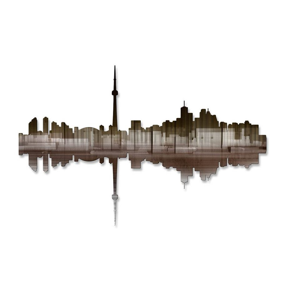 All My Walls 36-in W x 23.5-in H Frameless Metal Cityscape Wall Art