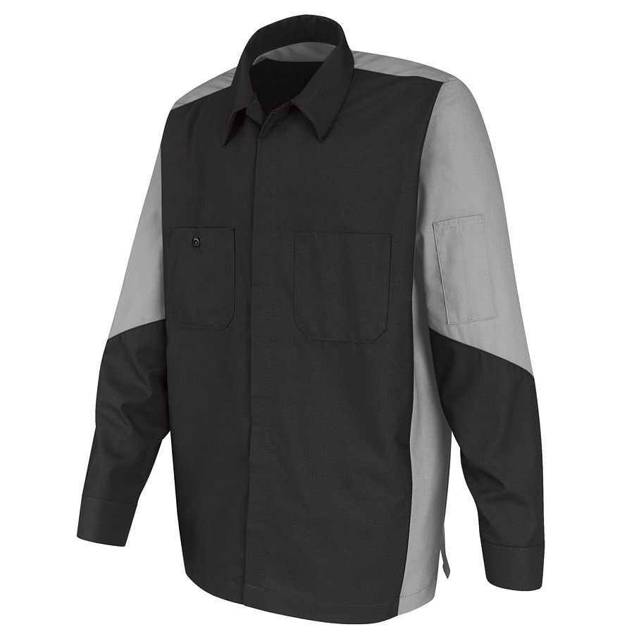 Red Kap Men's Large-Long Light Grey Poplin Polyester Blend Long Sleeve Uniform Work Shirt
