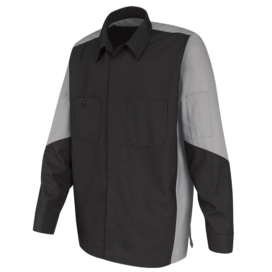 Red Kap Men's X-Large Light Grey Poplin Polyester Blend Long Sleeve Uniform Work Shirt
