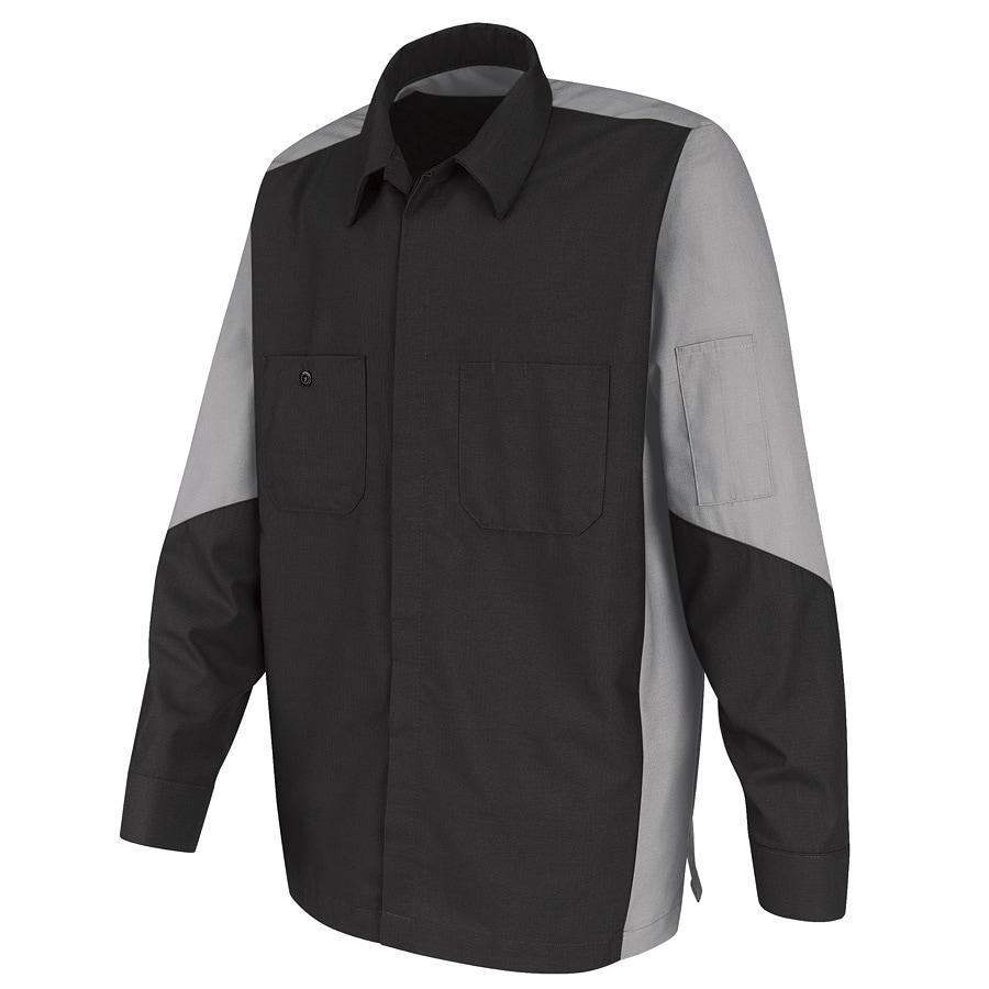 Red Kap Men's X-Large Light Grey Poplin Polyester Blend Long Sleeve Uniform Work Shirt