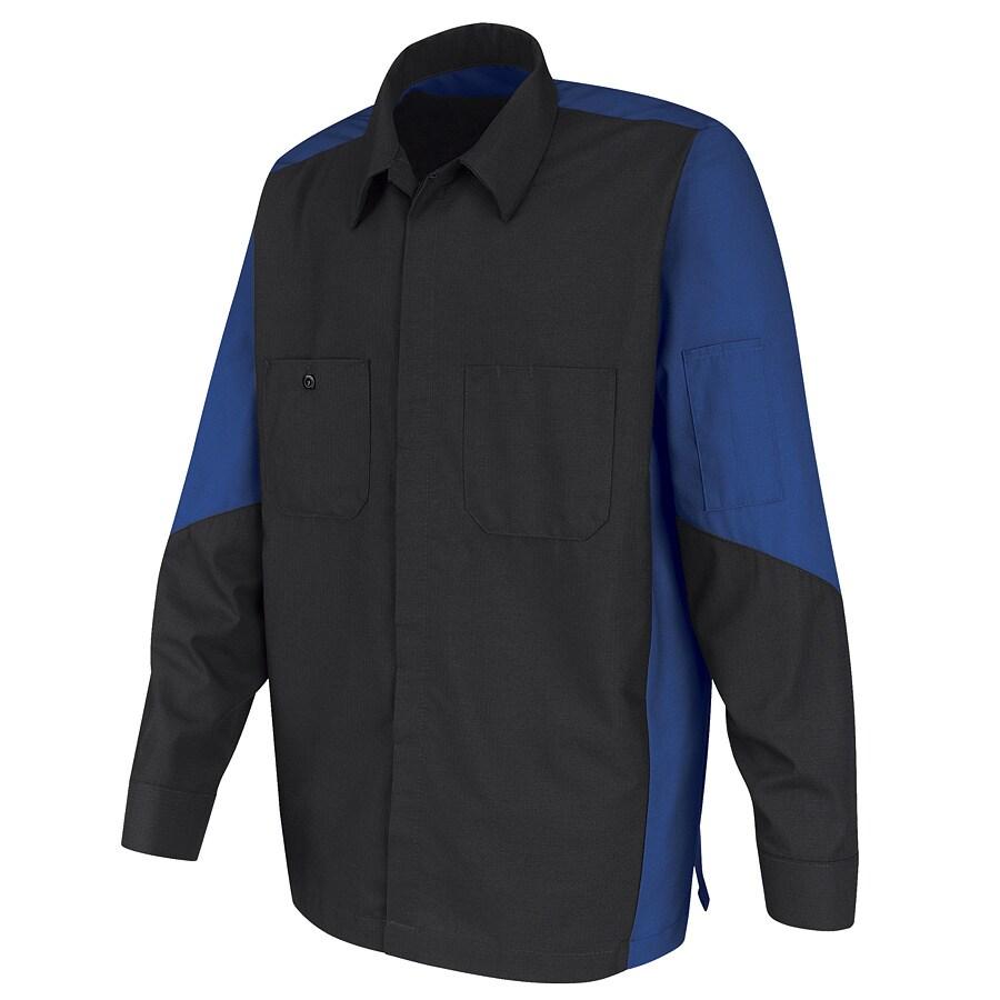 Red Kap Men's Large Royal Blue Poplin Polyester Blend Long Sleeve Uniform Work Shirt