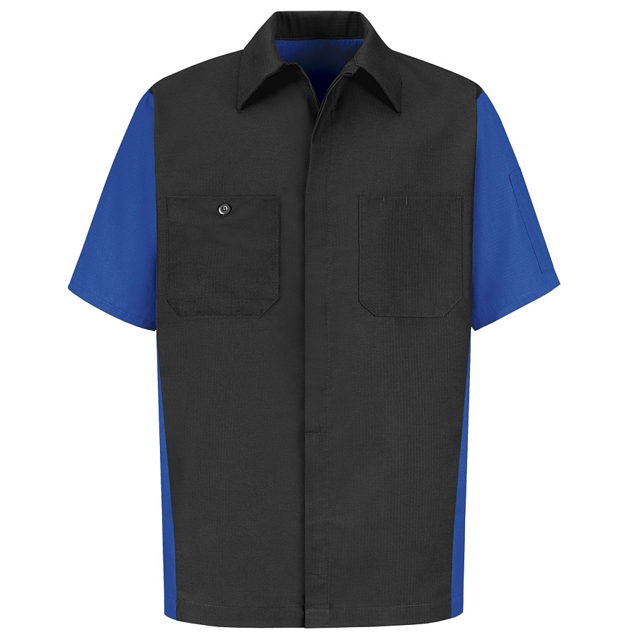 Red Kap Men's Large Royal Blue Poplin Polyester Blend Short Sleeve Uniform Work Shirt