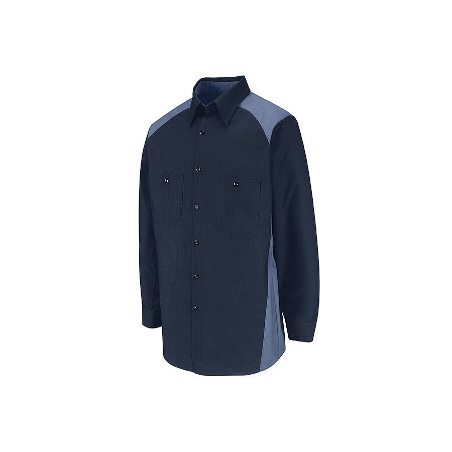 Red Kap Men's Large-Long Navy Blue Poplin Polyester Blend Long Sleeve Uniform Work Shirt