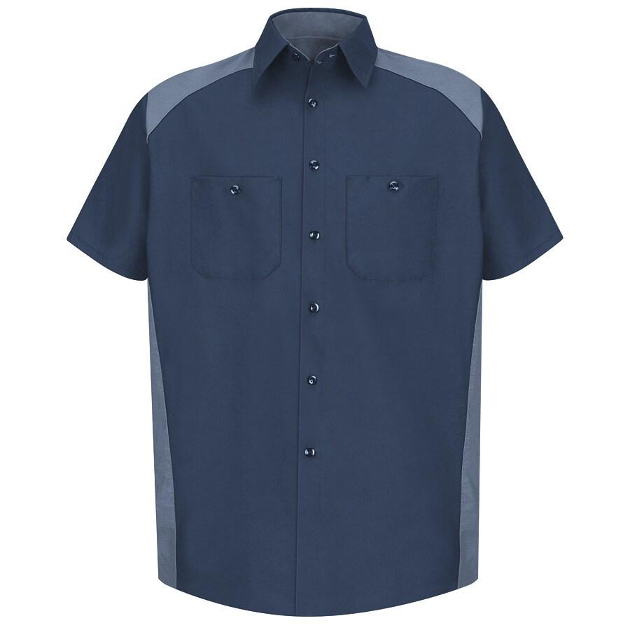 Red Kap Men's Large-Long Navy Poplin Polyester Blend Short Sleeve Uniform Work Shirt