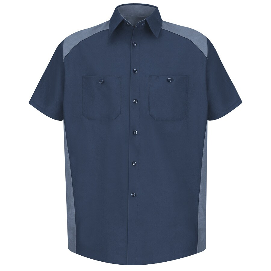 Red Kap Men's Medium-Long Navy Poplin Polyester Blend Short Sleeve Uniform Work Shirt
