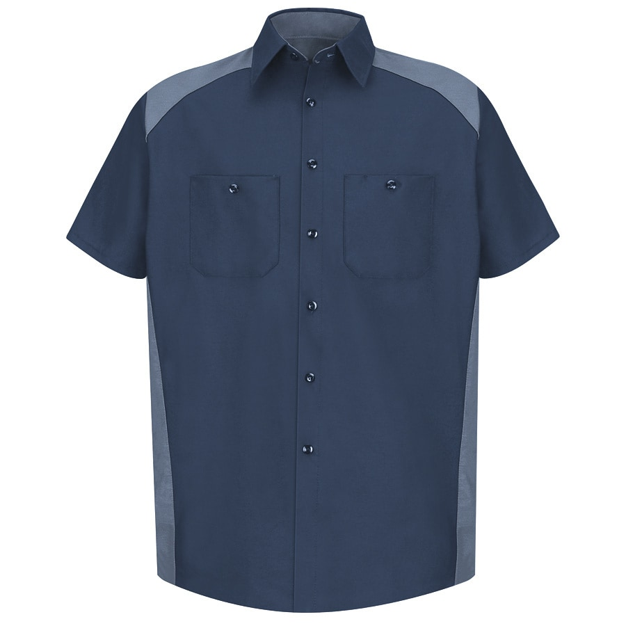 Red Kap Men's XXL-Long Navy Poplin Polyester Blend Short Sleeve Uniform Work Shirt