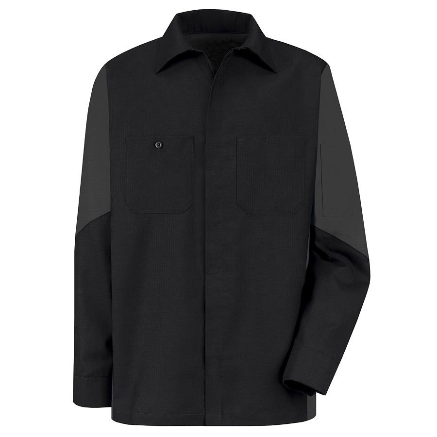 Red Kap Men's Large-Long Black Poplin Polyester Blend Long Sleeve Uniform Work Shirt