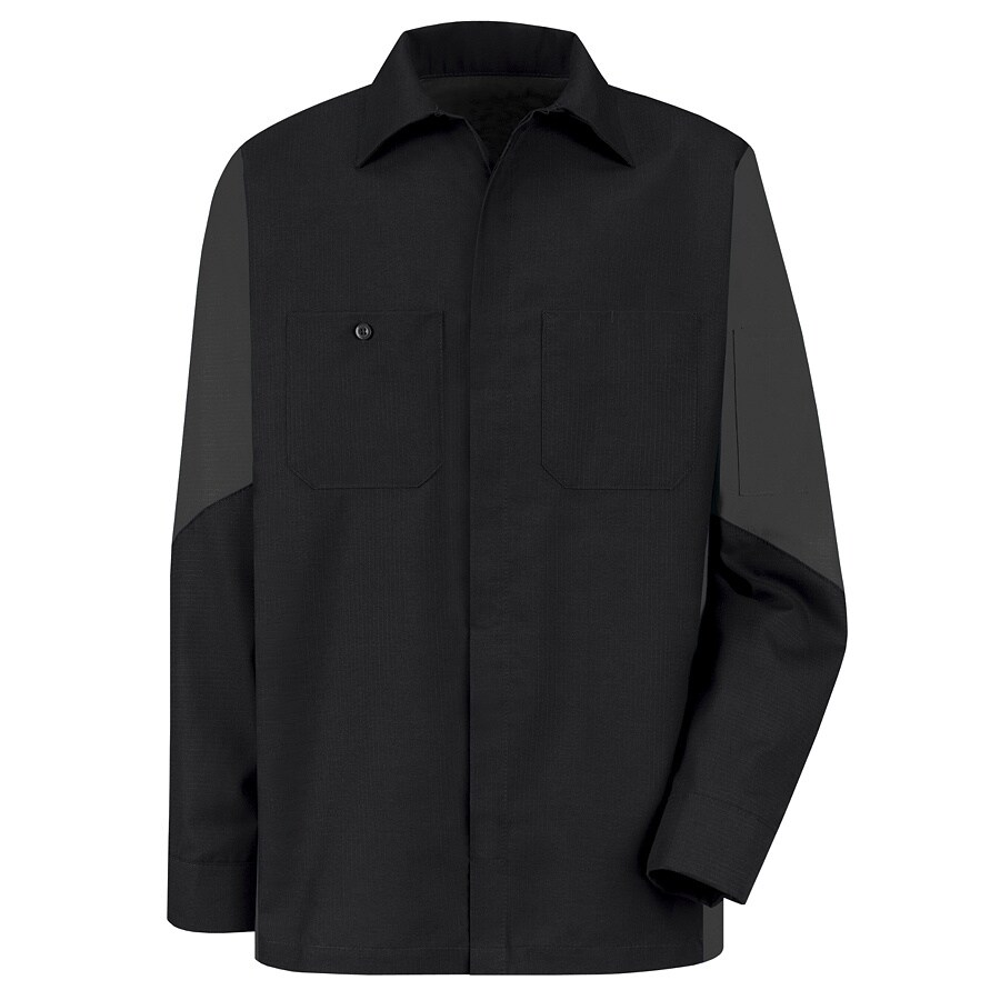 Red Kap Men's XXL-Long Black Poplin Polyester Blend Long Sleeve Uniform Work Shirt