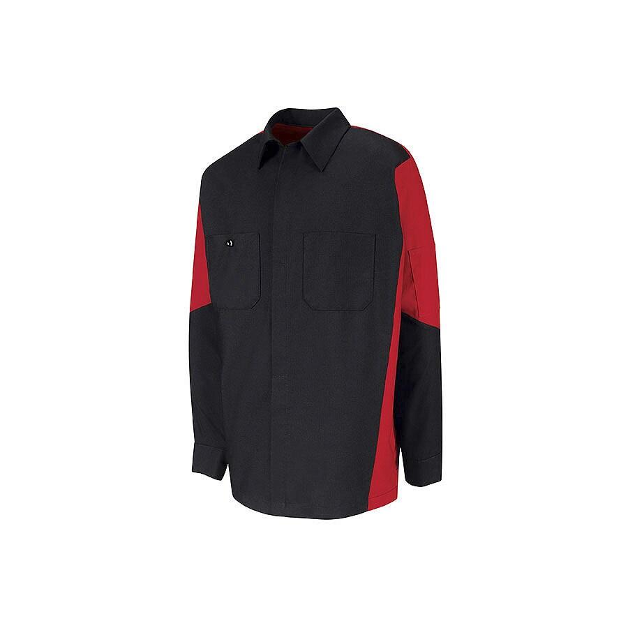 Red Kap Men's Large Black Poplin Polyester Blend Long Sleeve Uniform Work Shirt