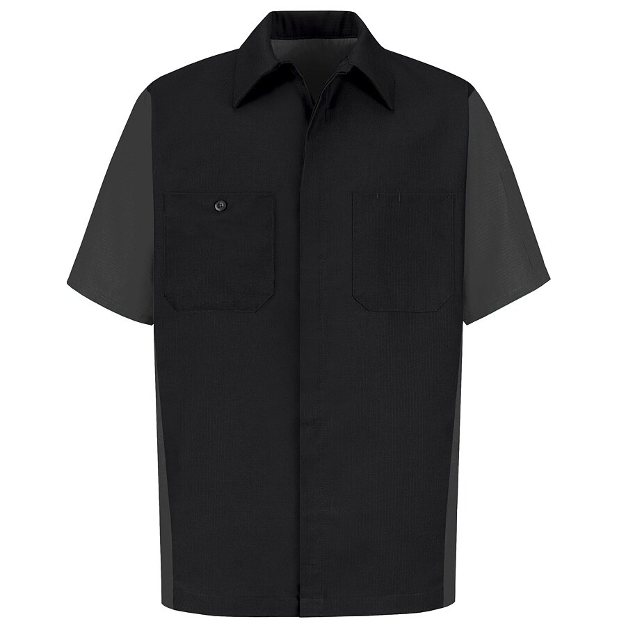 Red Kap Men's XX-Large Black Poplin Polyester Blend Short Sleeve Uniform Work Shirt