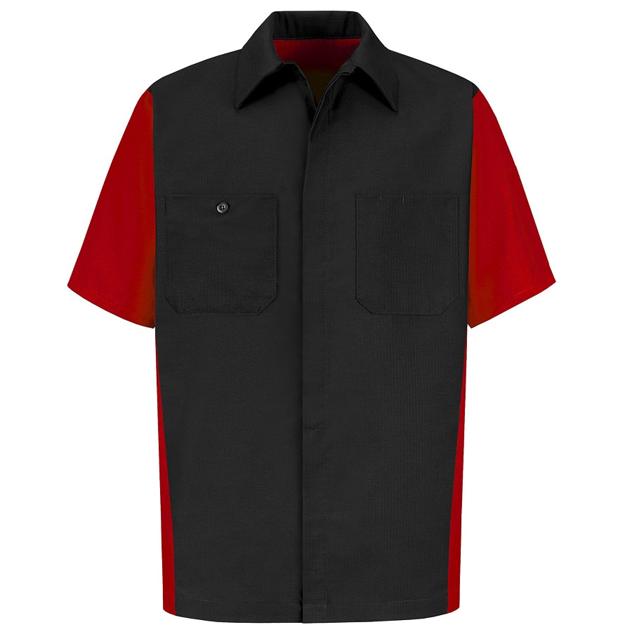 Red Kap Men's XL-Long Black Poplin Polyester Blend Short Sleeve Uniform Work Shirt