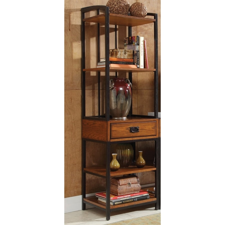 Home Styles Modern Craftsman Oak Metal Freestanding Media Cabinet