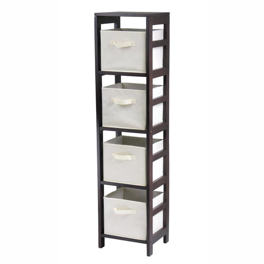 Winsome Wood Capri 13.5-in W x 55-in H x 11.25-in D Espresso/Beige Composite Freestanding Linen Cabinet