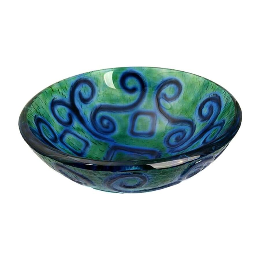 Legion Furniture Blue/Green Glass Vessel Round Bathroom Sink