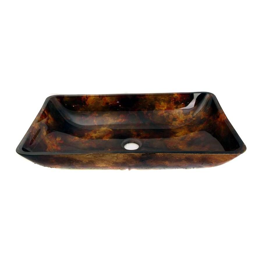 Legion Furniture Brown Glass Vessel Rectangular Bathroom Sink