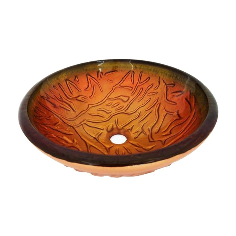 Legion Furniture Orange Glass Vessel Round Bathroom Sink