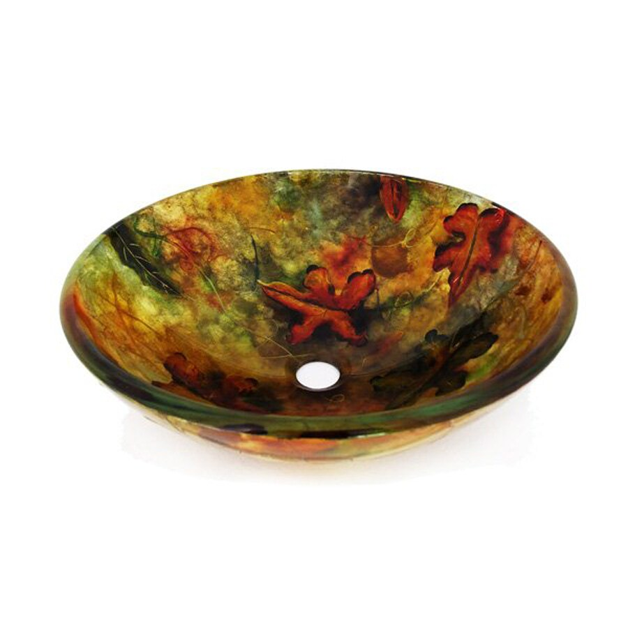Shop legion furniture yellow green glass vessel round - Green glass vessel bathroom sinks ...