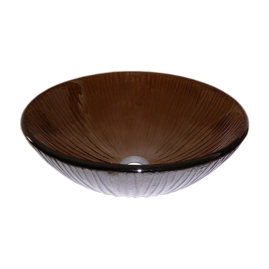 Legion Furniture Brown Glass Vessel Round Bathroom Sink