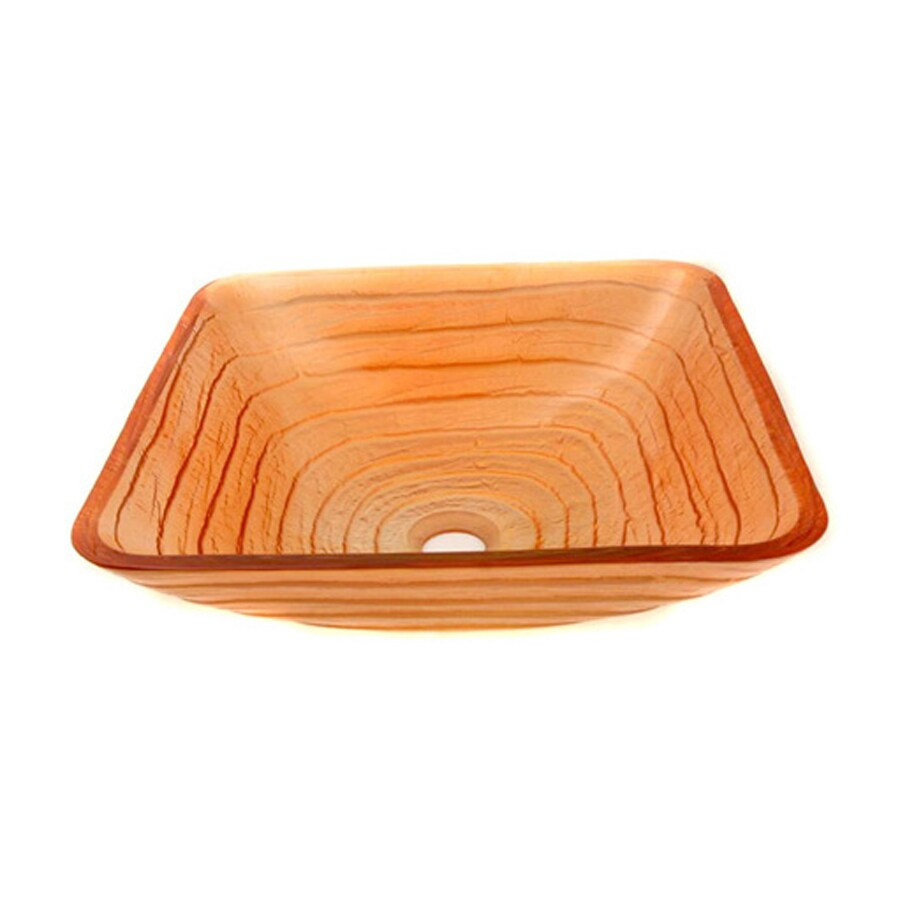 Legion Furniture Orange Glass Vessel Square Bathroom Sink