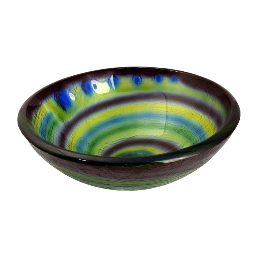 Legion Furniture Blue/Black/Green Glass Vessel Round Bathroom Sink