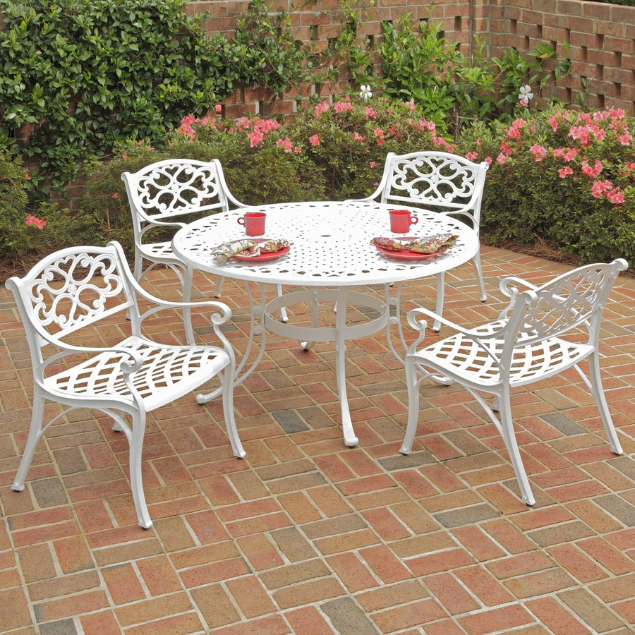 Home Styles Biscayne 5-Piece White Aluminum Patio Dining Set