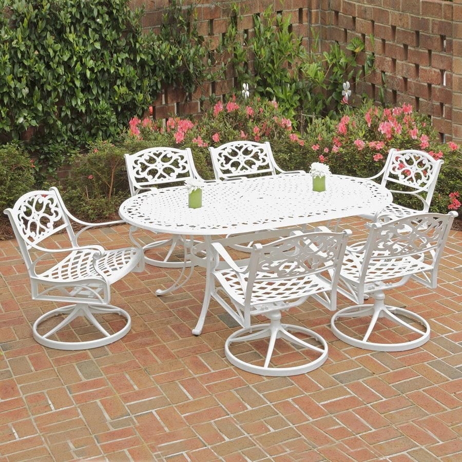 Home Styles Biscayne 7-Piece White Aluminum Patio Dining Set
