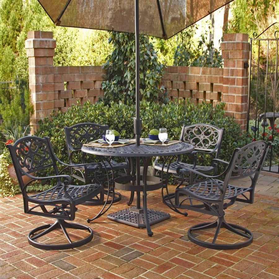 Shop Home Styles Biscayne 5 Piece Black Aluminum Patio Dining Set At