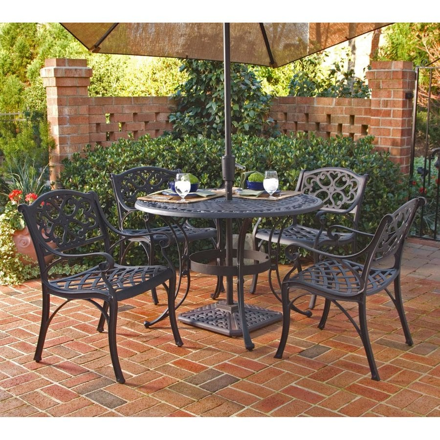 Shop home styles biscayne 5 piece black metal frame patio for Metal patio table and chairs set