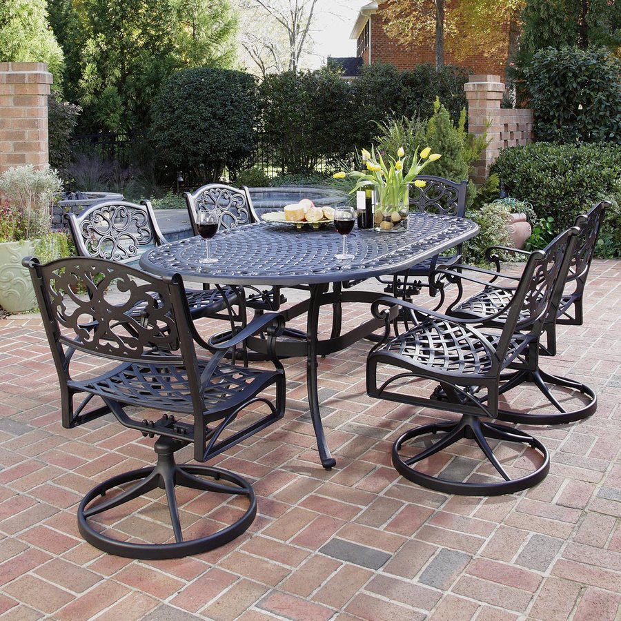 Home Styles Biscayne 7 Piece Black Aluminum Patio Dining Set