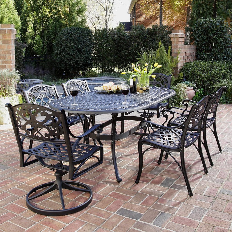 Shop home styles biscayne 7 piece black metal frame patio for Patio dining sets with bench seating