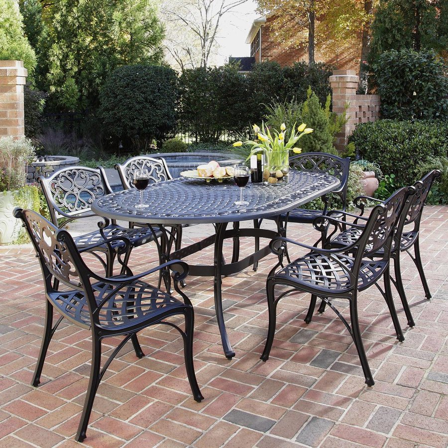 Cast Aluminum Patio Furniture Heart Pattern: Shop Home Styles Biscayne 7-Piece Black Metal Frame Patio