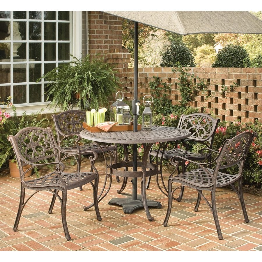 shop home styles biscayne 5 piece brown metal frame patio dining set at. Black Bedroom Furniture Sets. Home Design Ideas