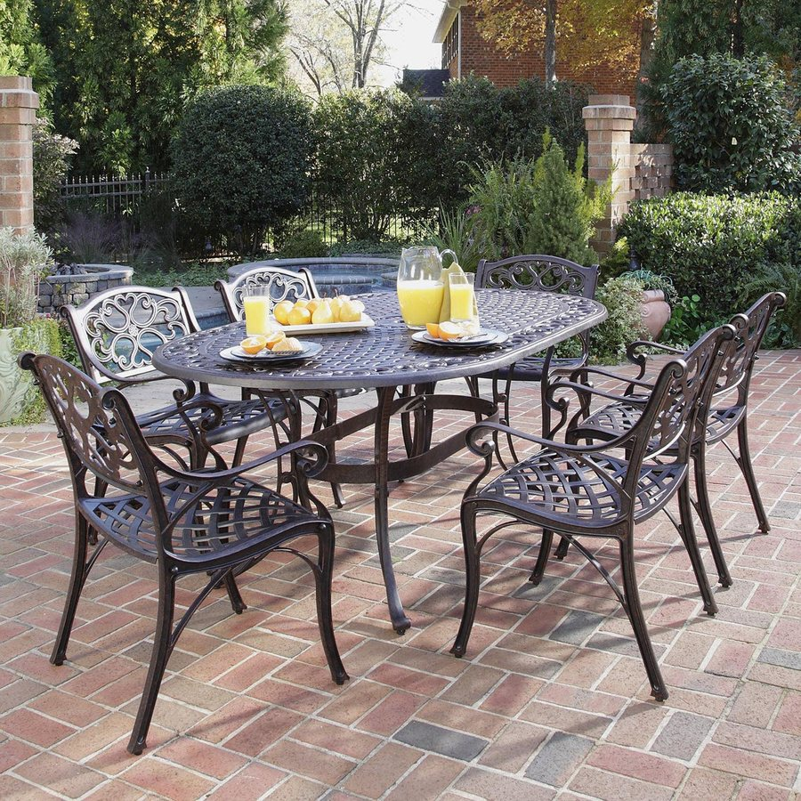 Shop home styles biscayne 7 piece bronze metal frame patio for Metal patio table and chairs set